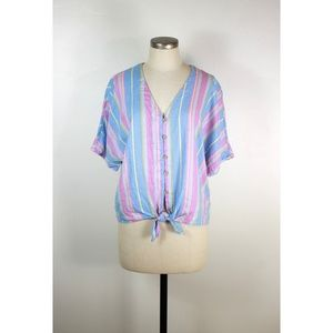 Cynthia Rowley striped button up tie front top